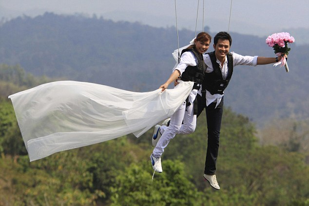 Tying the knot in the mid sky